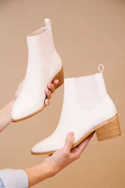 Filip Low Heel Bootie, Ecru | Chinese Laundry