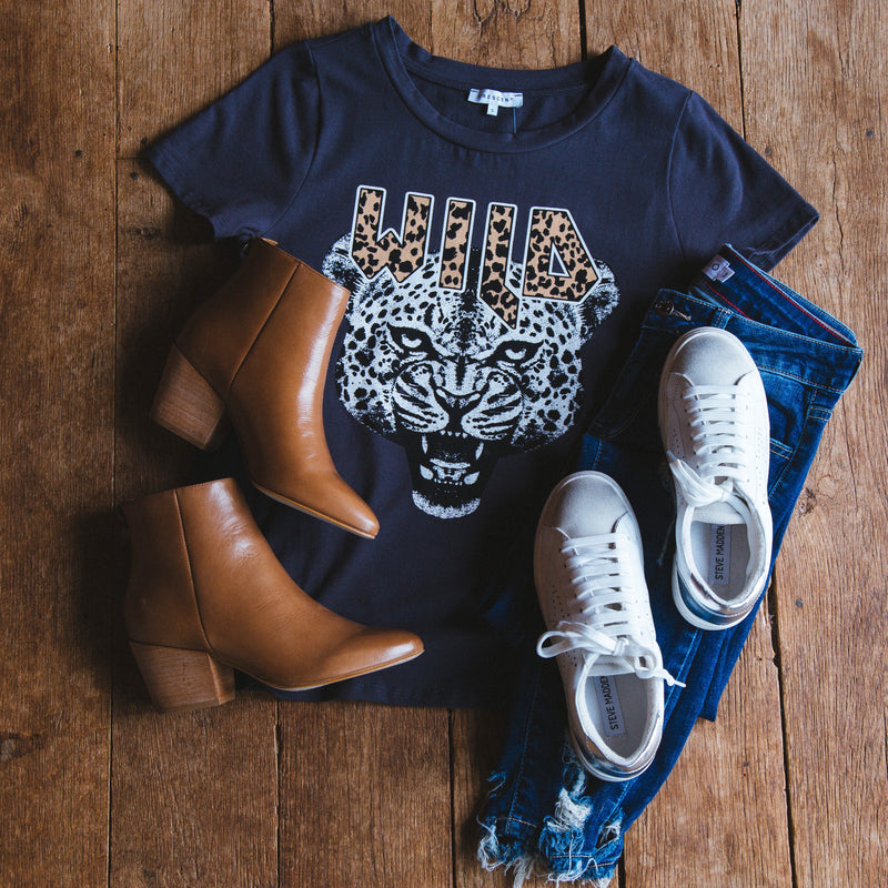 Wild Tiger Graphic Tee, Charcoal