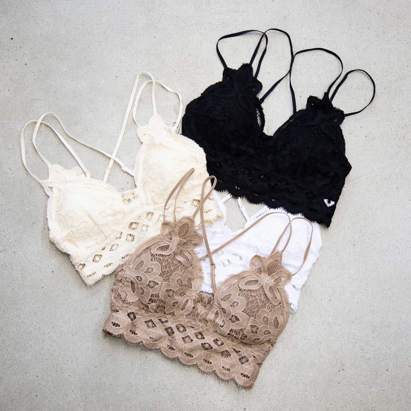 Lace Padded Bralette, Cream