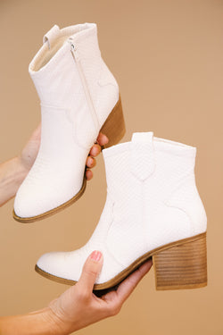 Unite Snake Textured Western Bootie, White | Dirty Laundry