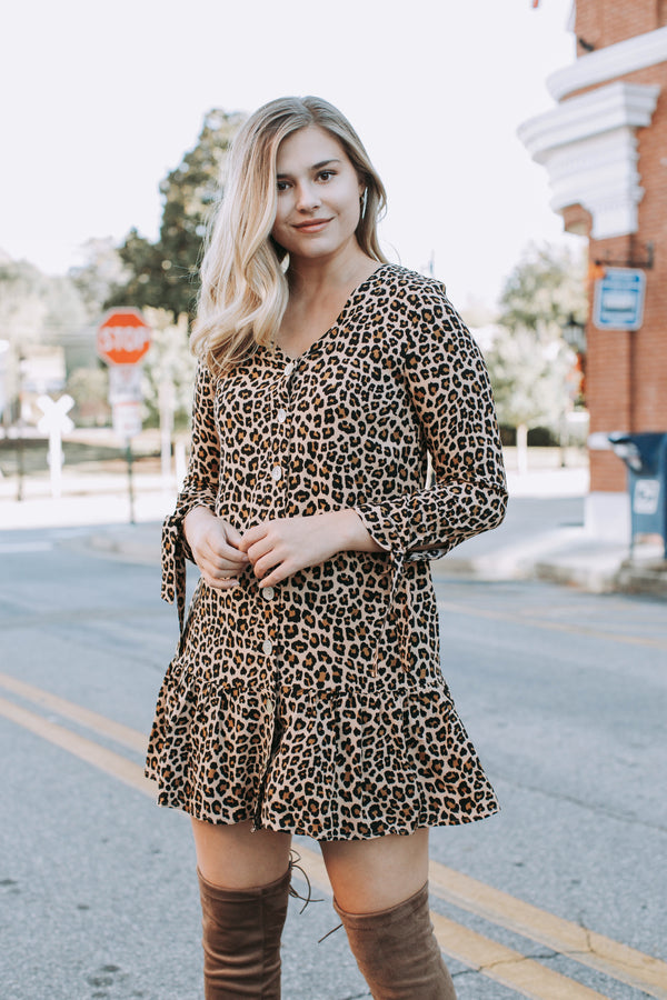 Walk Right In Leopard Button Down Dress, Brown Leopard