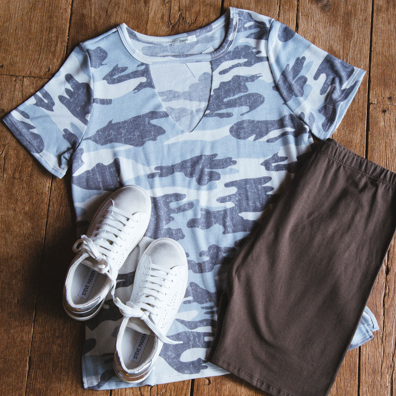 Unwritten Camo Cut-Out Knit Tee, Grey Mix | Extended Sizes Available