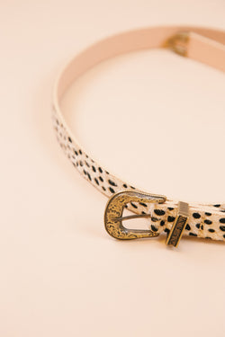 Cassidy Animal Print Western Belt, Gold Burnish