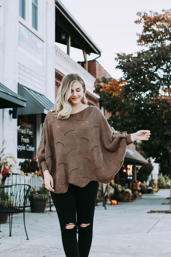 Cuddle Up A Little Closer Oversized Bat Wing Sweater, Mocha