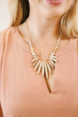 Short Necklace with Stone Spikes, Natural