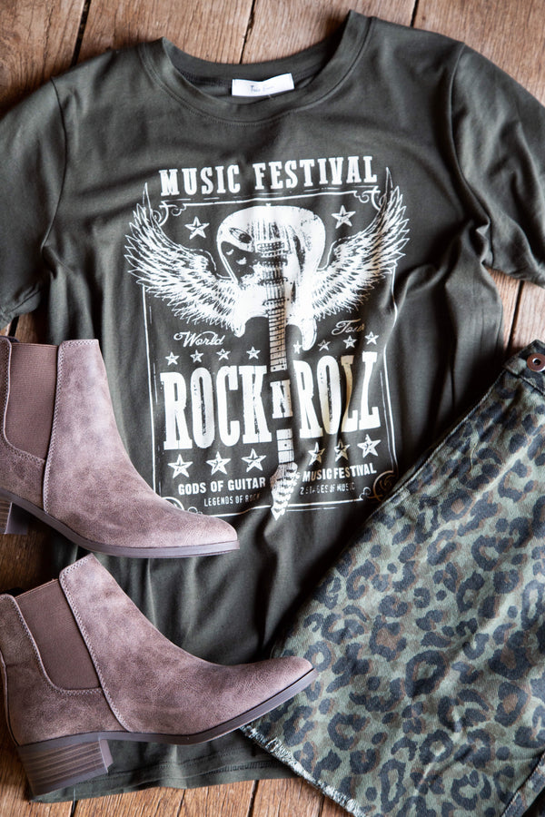 Rock N' Roll Graphic Tee, Olive