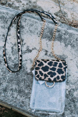 Sideline Clear Cell Phone Holder Crossbody, Clear/Leopard