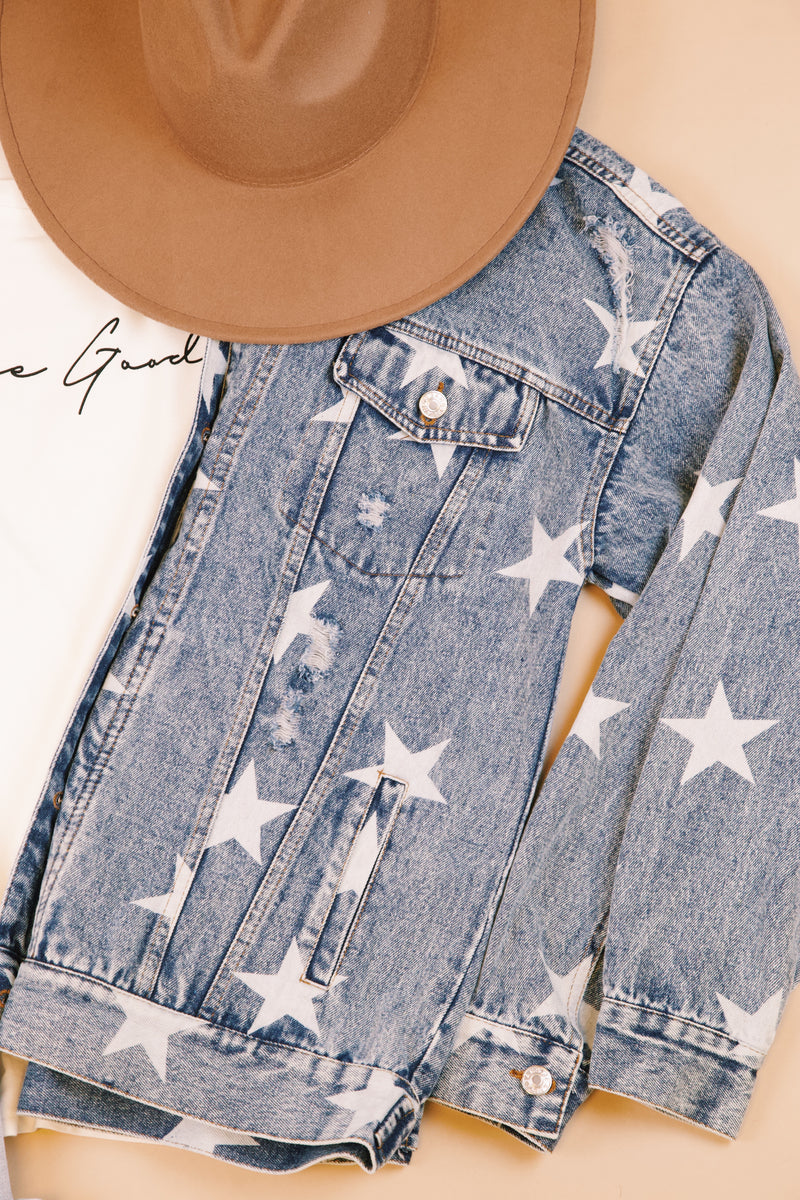Milky Way Star Printed Distressed Denim Jacket, Medium Denim Blue