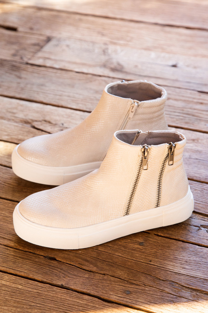 Dawson High Top Sneaker w/ Double Side Zippers, White | Coconuts by Matisse