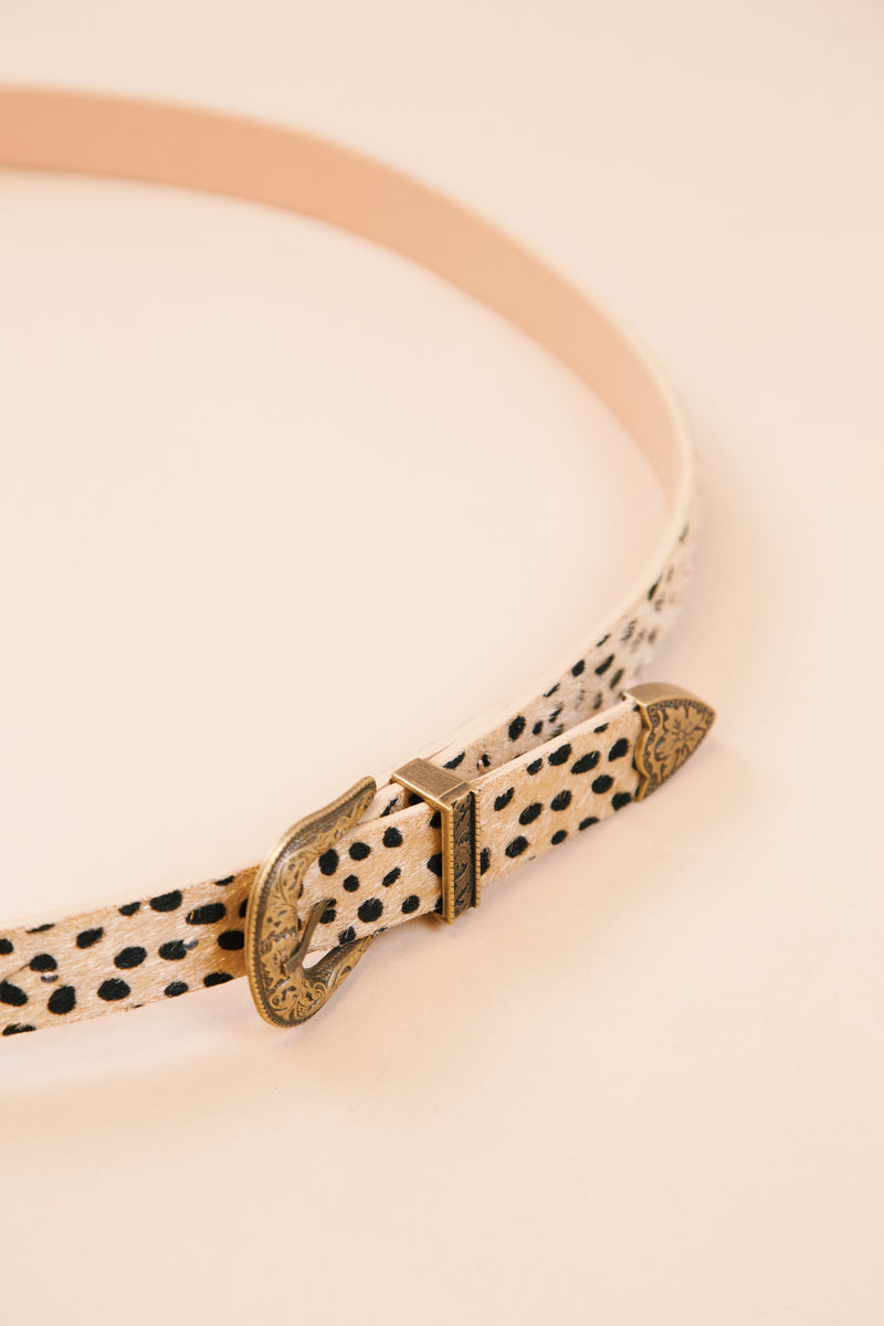 Dixie Double Buckle Animal Printed Belt, Light Brown Leopard