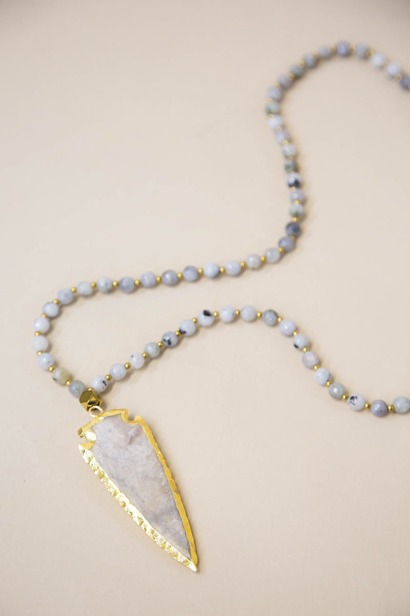 The Coral Arrow Necklace, Tibet Agate | BPD