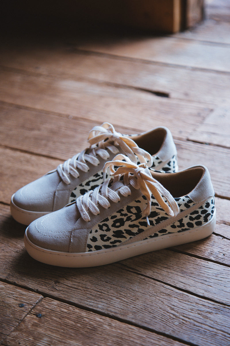 Jordan Lace Up Low Top Sneaker, Beige Leopard