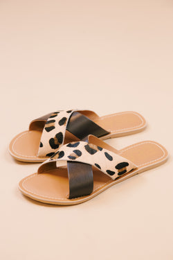 Pebble Cross Band Sandal, Leopard/Brown | Beach by Matisse
