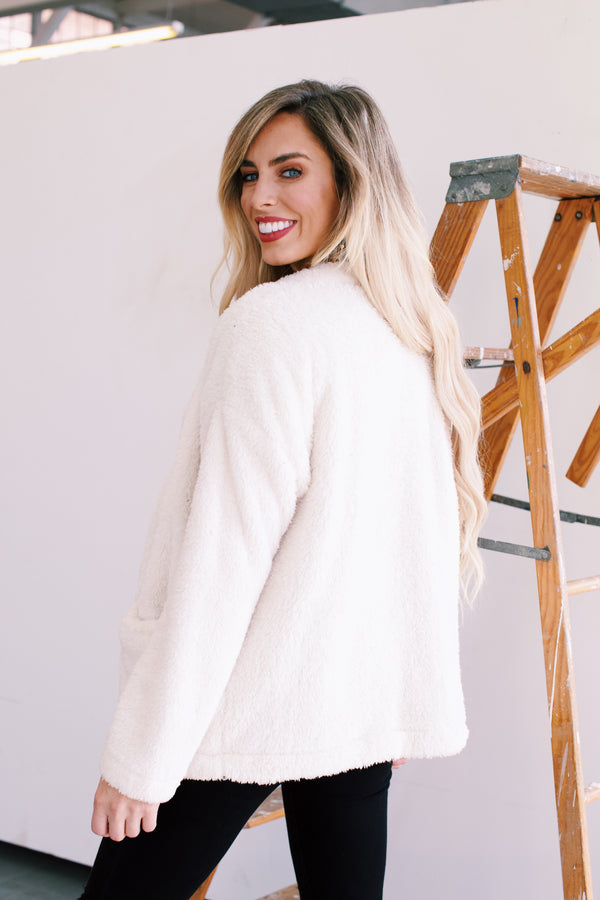 Felicity Button Front Faux Fur Cardigan, Ivory