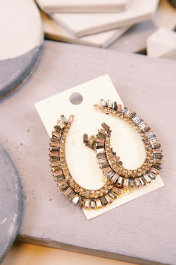 Cleopatra Jeweled Swirl Large Earring, Gold Multi