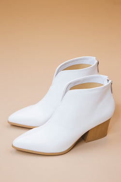 Nava Pointed Toe Bootie, White