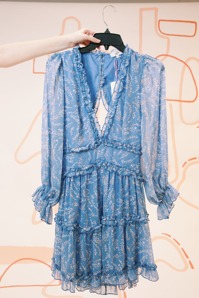 Feels Like Spring Printed Ruffle Detailed Dress, Blue