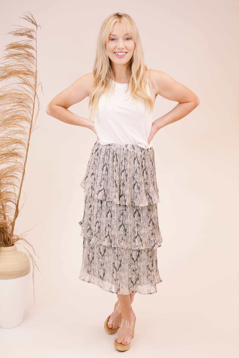 Love You, Mean It Tiered Accordion Pleated Skirt, Grey Snake