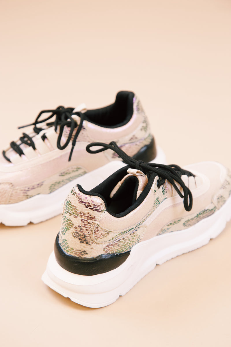 Berlin Snake and Shimmer Printed Lace Up Sneaker, Beige Multi