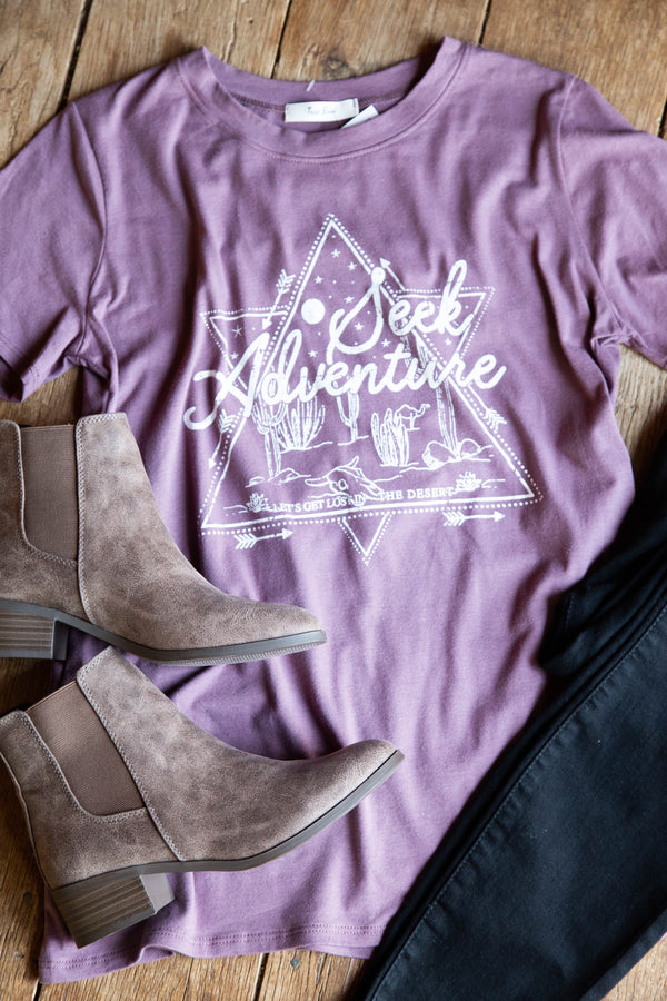 Seek Adventure Triangle Graphic Tee, Purple