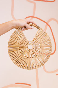 Bamboo Round Clutch, Natural