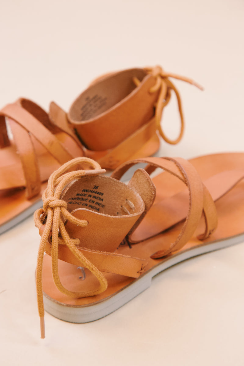 Vacation Day Wrap Sandal W/ Stitch Detail, Natural | Free People