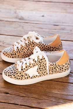 Collect Spiko Star Animal Print Low Top Lace Up Sneaker, Leopard