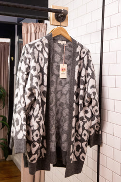 The Night We Met Animal Print Cardigan, Grey/Cream | Plus Size