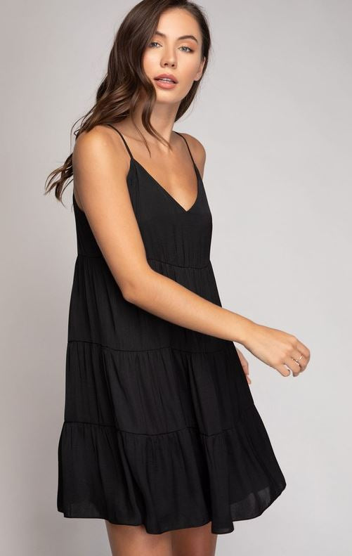 Mood For A Dance Tiered Dress, Black