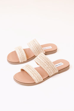 Dede Natural Two Band Slide on Sandal, Nat Raffia | Steve Madden