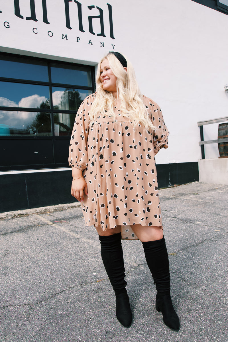 Ivey Puff Sleeve Babydoll Dress, Taupe Leopard | Plus Size