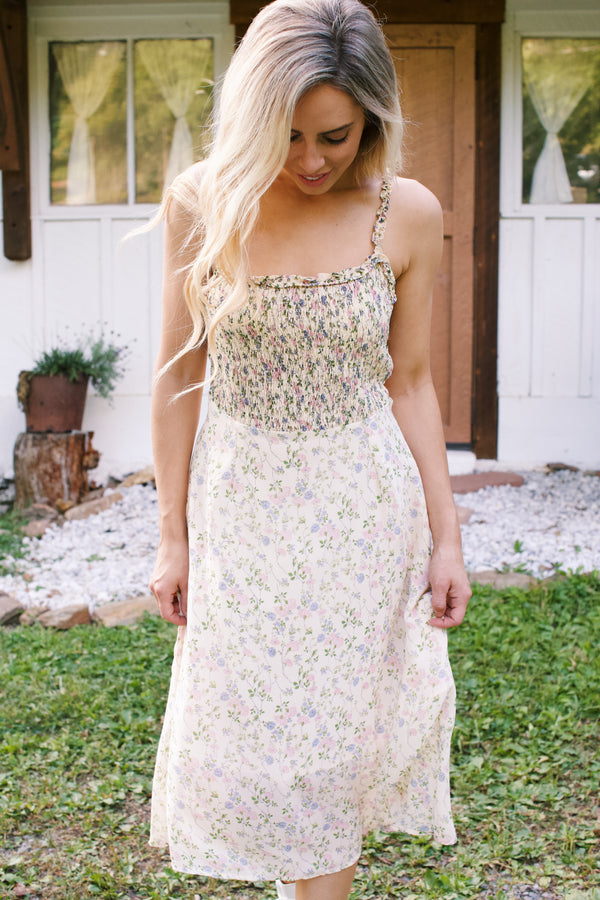 Honey + Tea Smock Dress, Cream Floral