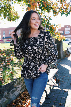 Holloway Floral Blouse, Black