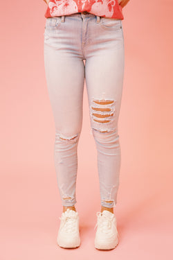 Clara High Rise Skinny Crop Jeans, Iced Out Light