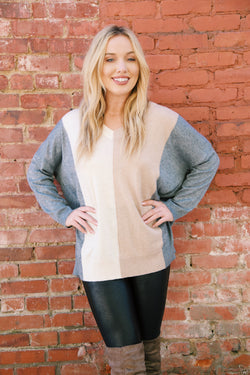 You And I Colorblock Sweater, Taupe/Charcoal
