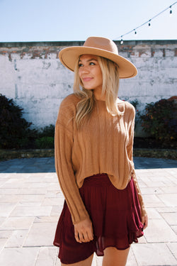 Ready For It Ribbed Knit Sweater, Camel