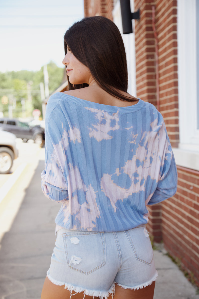 Rather Be Tie Dye Sweater, Blue
