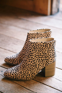 Mars Block Heel Ankle Bootie, Natural Cheetah
