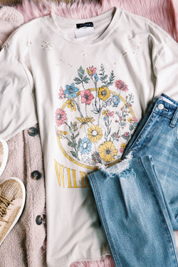 Wildflowers Distressed Graphic Tee, Light Khaki