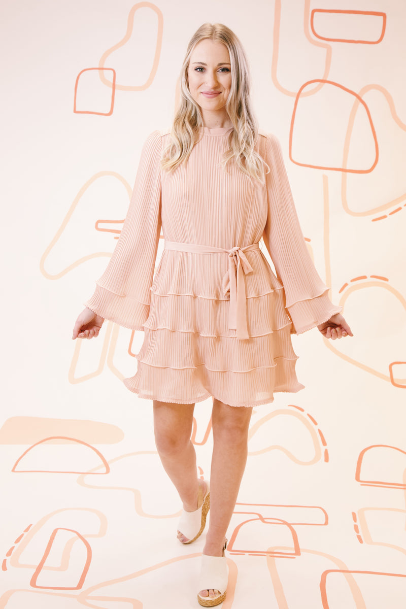 Hepburn Pleated Ruffle Mini Dress, Blush