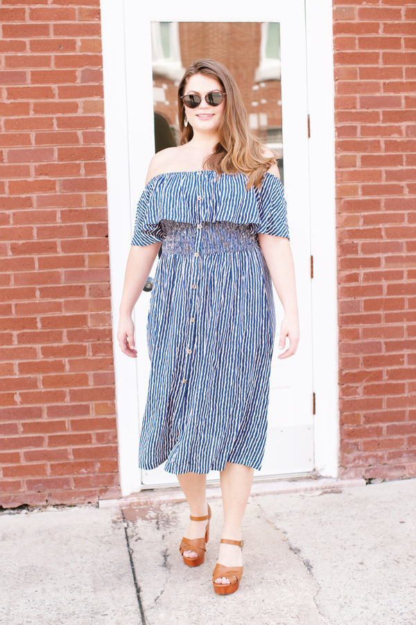 Striped Midi Dress, Navy Stripe | Plus Size