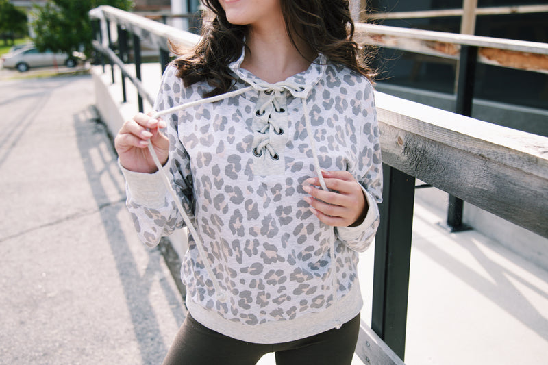 Landry Leopard Lace Up Sweatshirt, Grey