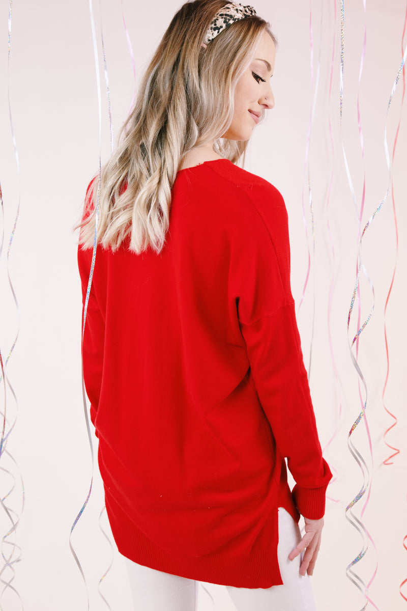 Love Song Seam Front Sweater, Bright Red