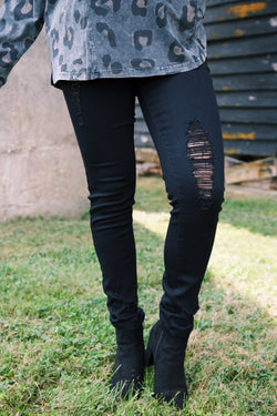 Brittney Mid Rise Distressed Skinny Jeans, Black