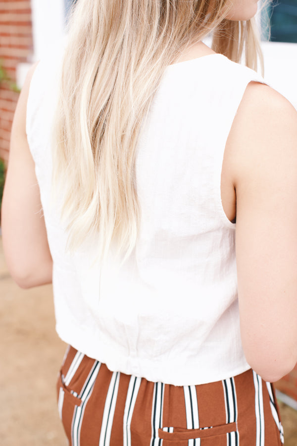 Margot Button Front Tank, Ivory