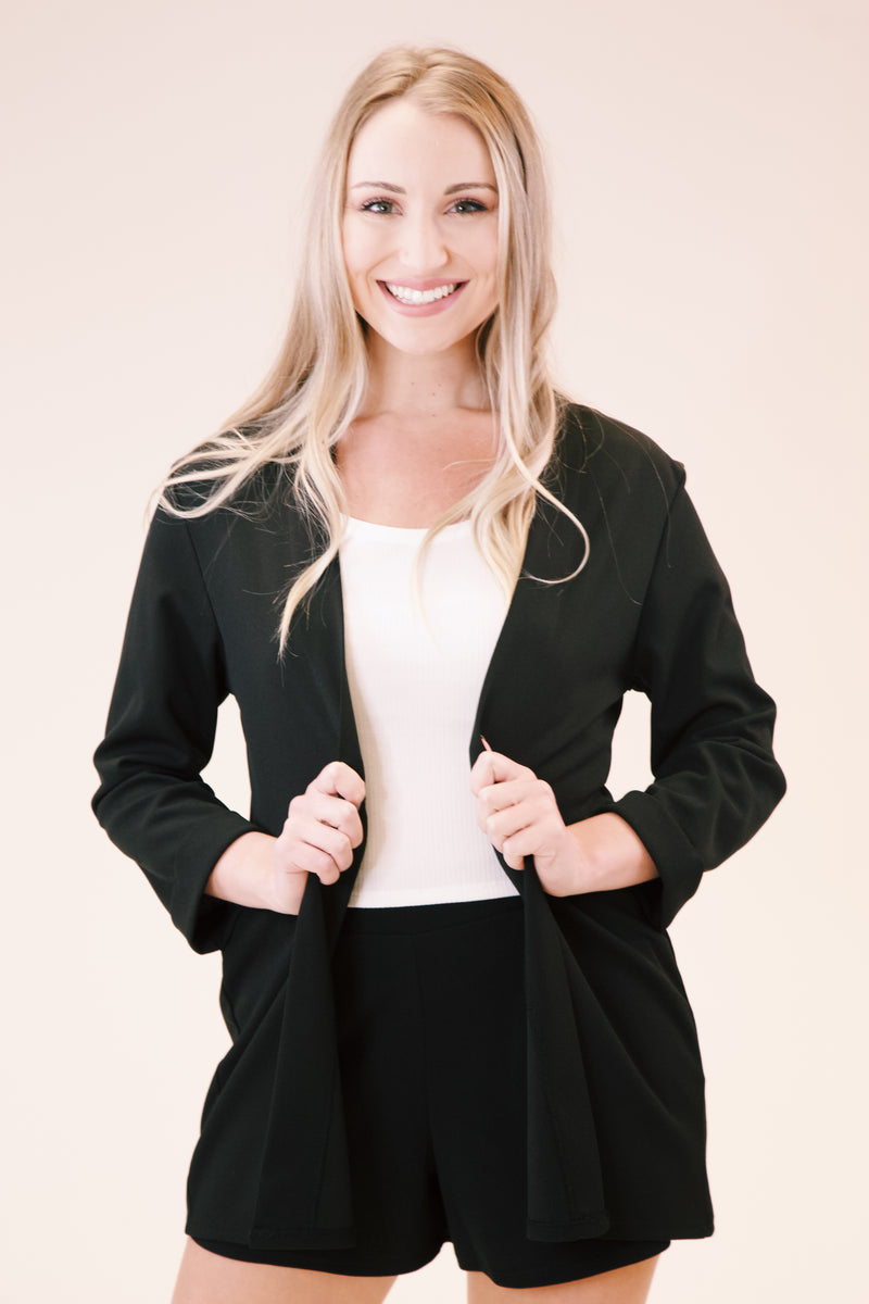 Gloria Blazer Cardigan, Black