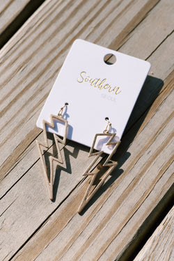 Struck By Lightning Earrings, Gold