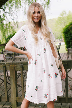 Addalynn Floral Embroidered Dress, White