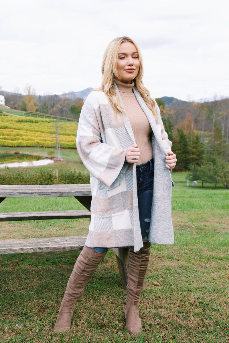 Beacon Heights Plaid Cardigan, Taupe/Grey