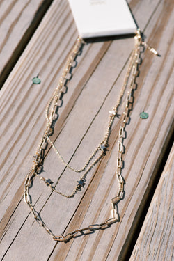Stefan Star Chain Necklace, Gold